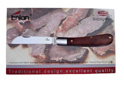 Picture of Enlan Biltong-Pro with leather sheath in gift box